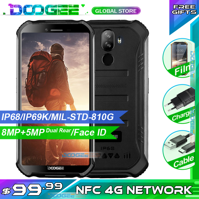 "3GB+32GB DOOGEE S40 5.5"" HD 4G Network Rugged Mobile Phone IP68 Waterproof 4650mAh 8MP MT6739 Android 9.0 Pie Smartphone"
