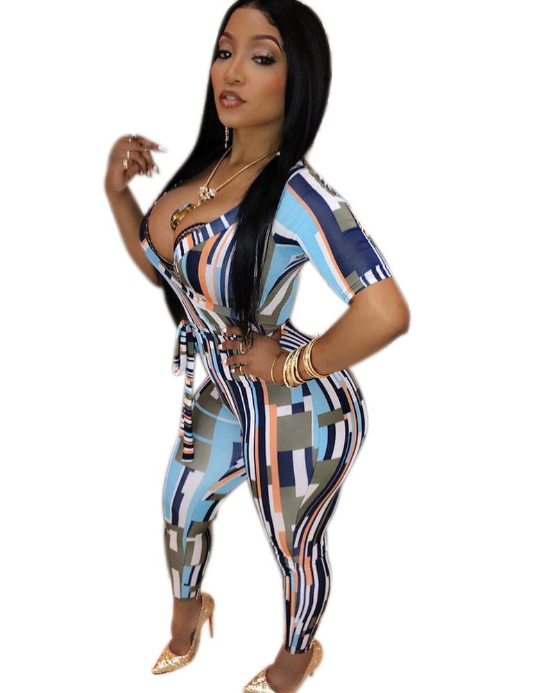 Nice Sexy Deep V-Neck Short Sleeve Pencil Jumpsuit Summer Women Stripe Printed Long Romper Sashes Playsuit Boho Overalls