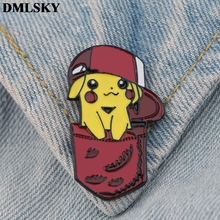 DMLSKY Pikachu Cute Cartoon Pins Enamel and Brooches Women Men Lapel Pin Backpack Badge Tie Hat Jewelry M3800