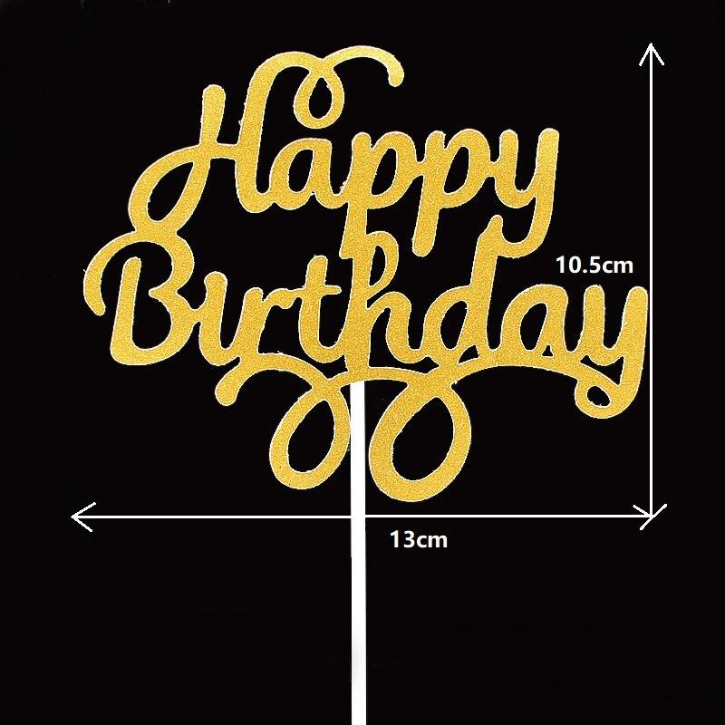 10pcs Gittler Happy Birthday Cake Topper Bling Sparkle Decoration Sign Happy Birthday Cake Topper Girl`s Birthday Dessert Decor 6