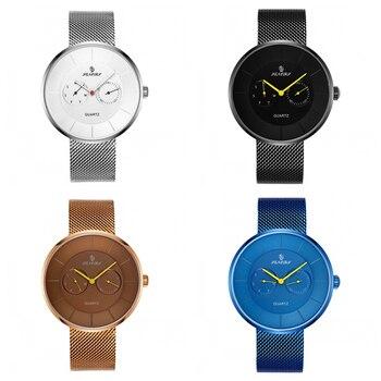 Luxury Quartz Watch Men Casual  Japan Quartz-watch Stainless Steel Mesh Strap Ultra Thin Clock Male Business Casual Black Watch
