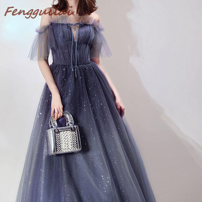 FENGGUILAI nouveau bleu femmes robe dentelle sans manches de mariage longue longueur de plancher élégant dames robe de soirée robe de bal Vestidos de mode