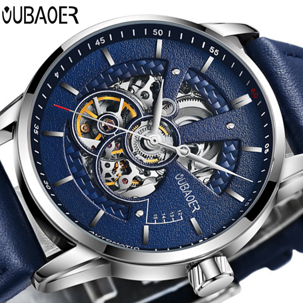 OUBAOER Relogio Masculino Top Brand Luxury Automatic Mechanical Watch Men Leather Business Waterproof Sport Watches Mens Watches