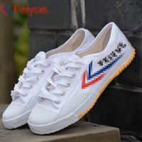 Classico Kung fu 501 Scarpe arti Marziali Tai chi Wushu Taekwondo Karate Calzature di Sport Sneakers di Formazione in bianco e Nero