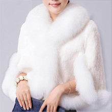 2019 New Fur Faux Coat Mink Hair Rex Rabbit Hair Cape Jacket Black White Fur Overcoat Imitation Rabbit Fur Faux Fox Collar(China)