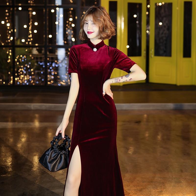 Cheongsam Evening Dress Air Show  Chinese Retro Long Fish Tail Slim Host Wine Red Velvet Dress