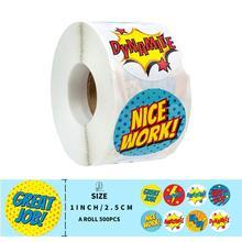 1 inch 500pcs/roll Reward Sticker for Kids Children Girls Boys Toy Decoration Cute Pattern Praise Words Encouragement Sticker