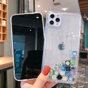 Image 5 - Custodia per telefono Quicksand dinamica di lusso per iPhone 11 12 Mini Pro Max XS Max X XR 7 8 Plus Cover posteriore rigida per Pc con Glitter per cartoni animati