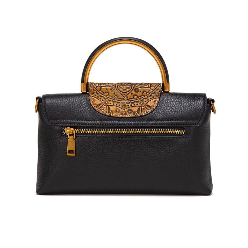 Women Handbag Embossed Pattern Shoulder Diagonal Female Handbag Cow Leather First Layer Cowhide New Retro 2020 Genuine Leather
