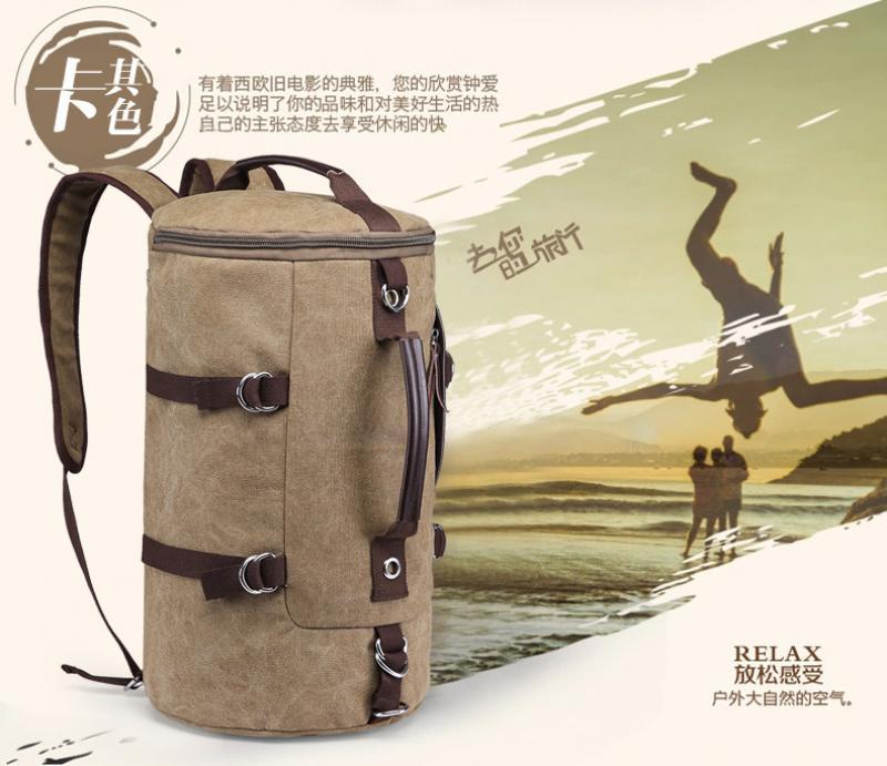 Male men Travel Bag Cross-Border Casual Shoulder Bag Large-Capacity Retro Canvas Backpack Personality Student Bag Computer Bag