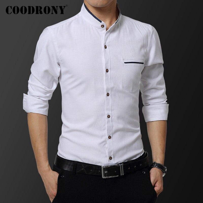 COODRONY Brand Men Shirt Long Sleeve Soft Cotton Shirt Men Fashion Mandarin Collar Business Casual Shirts Camisa Masculina 96103