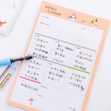 12.5*18.8CM Memo Pad Stickers Kawaii Stationery Portable Schedule Notepad Creative Large Weekly Plan Tear Off