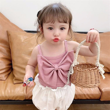 1-6Y Baby Girls Rainbow Striped Camisole T-shirt for Children Cotton Tops Clothes 2020 New Kids Summer Bow Print Vest Shirts kids striped and star flag print vest dress