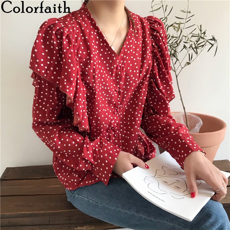 Colorfaith New 2020 Women Spring Summer Blouse Shirts V-Neck Single Breasted Dot Casual Butterfly Sleeve Chiffon Red Tops BL8895