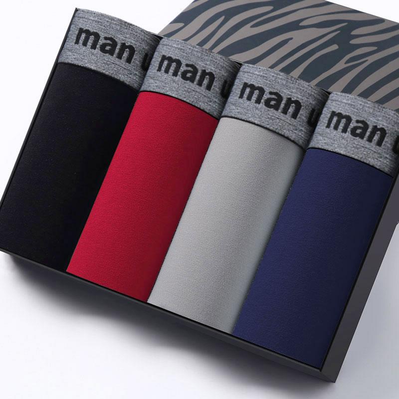 4PCS Männer Unterwäsche Baumwolle Boxer Höschen Komfortable Herren Unterhosen Sexy Solide Cuecas Badehose Marke Shorts Männer Boxer Plus Größe