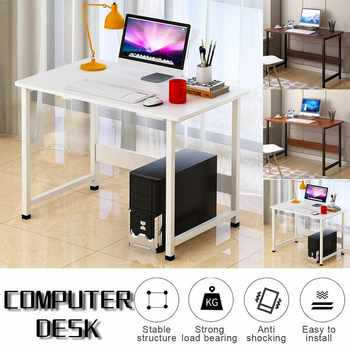 Computer Laptop Desk Modern Style Computer Table with Bookshelf Wooden Standing Desks Round Edge for Home Office Living Room