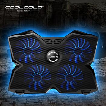 Chłodzenie laptopa podkładka chłodząca do laptopa Notebook podkładka chłodząca do gier z czterema wentylatorami i 2 portami USB do laptopa 14-17 cali tanie i dobre opinie COOLCOLD CN (pochodzenie) Chłodzony powietrzem 12-17inch Cztery fanów Aluminium i tworzyw sztucznych Black and Blue Gaming Style