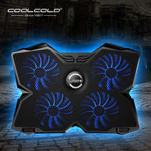Laptop Cooler Laptop Cooling Pad Notebook Gaming Cooler Stand dengan Empat Kipas dan 2 Usb Port untuk 14-17inch Laptop(China)
