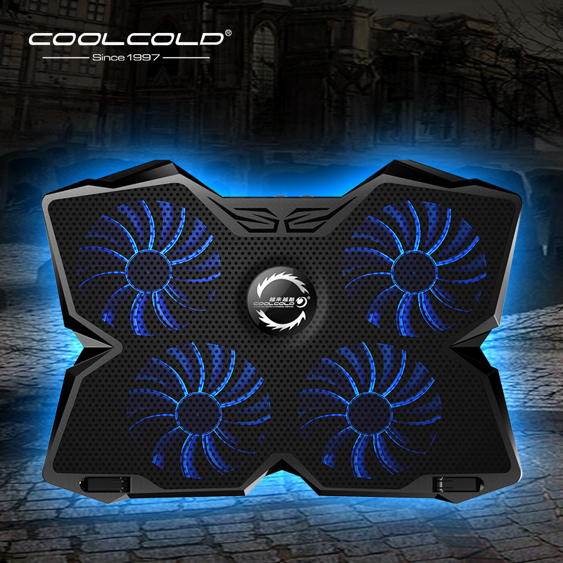 Laptop Cooler Laptop <font><b>Cooling</b></font> Pad <font><b>Notebook</b></font> Gaming Cooler Stand with Four <font><b>Fan</b></font> and 2 USB Ports for 14-17inch Laptop image