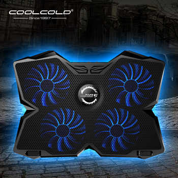 Refroidisseur dordinateur portable plaque de refroidissement pour ordinateur portable ordinateur portable support de refroidisseur de jeu avec quatre ventilateurs et 2 Ports USB pour ordinateur portable 14-17 pouces