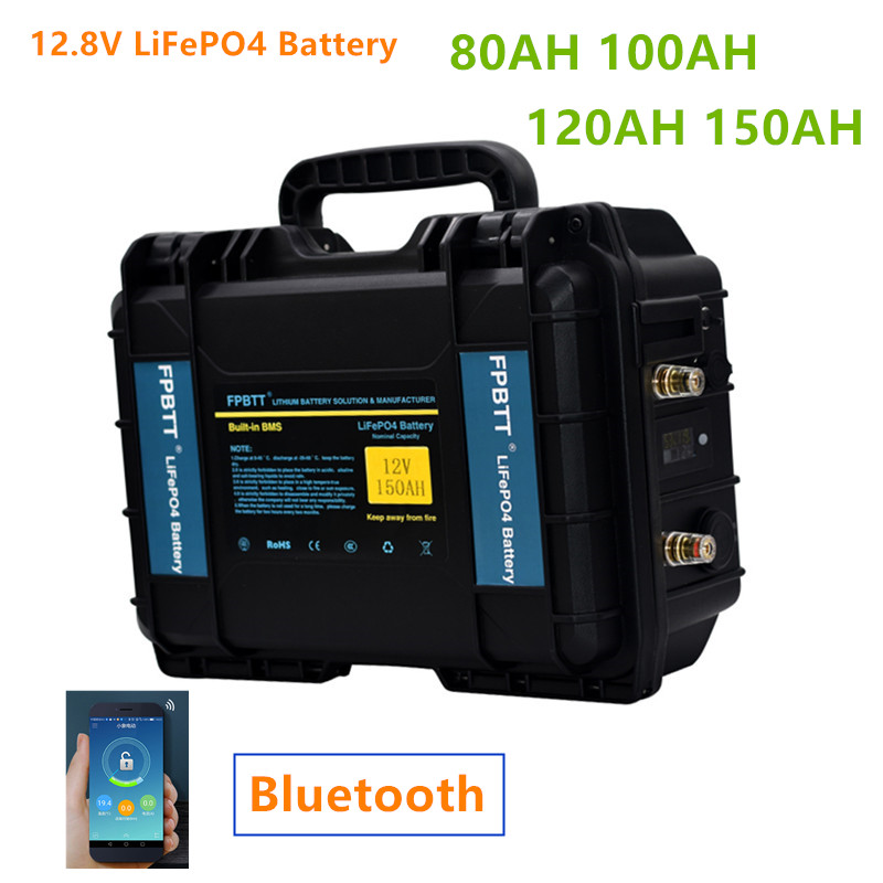 Аккумулятор LiFePO4 12 В, 80 Ач, 12,8 Ач, с Bluetooth, BMS, в, литиевый Аккумулятор lifepo4 с зарядным устройством 10 А для лодочного мотора