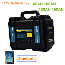 12v 80ah 100ah 120ah 150ah LiFePO4 Battery with Bluetooth BMS 12.8v lifepo4 lithium battery pack with 10A Charger for boat motor