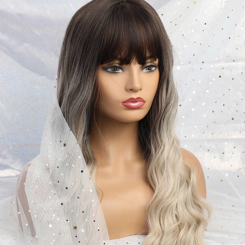 EASIHAIR długa fala brązowy do blondynka peruki syntetyczne ombre dla kobiet włosy typu body Wave peruki Cosplay Lolita Party peruki termoodporne