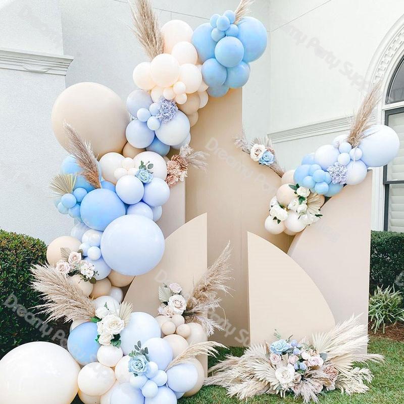 112pcs Blue Balloon Arch Brown Baby Shower Cream Peach Pastel Balloons Garland Birthday Party Decorations Supplies Boy Global