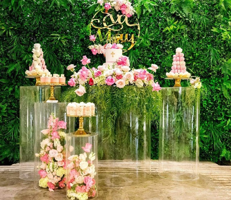 Clear Acrylic Plinth Stand Metal Cylinder Pedestals Flower Dessert Display Platform  For Wedding Baby Shower Kids Birthday Party
