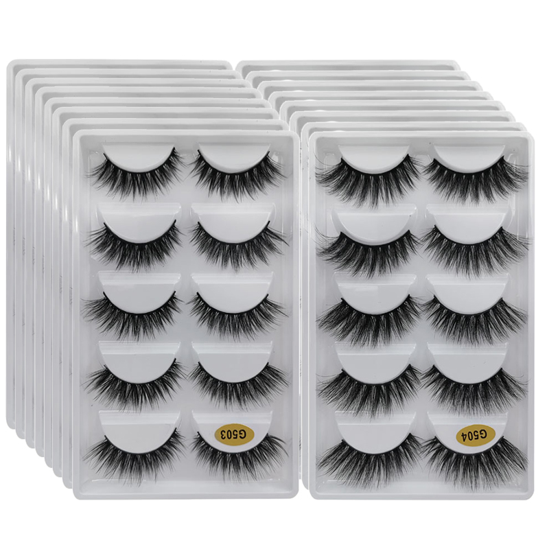 10/20/30-/.. Mink-Eyelashes Bulk Natural Wholesale 5-Pairs Faux-Cils Long Super-Fluffy