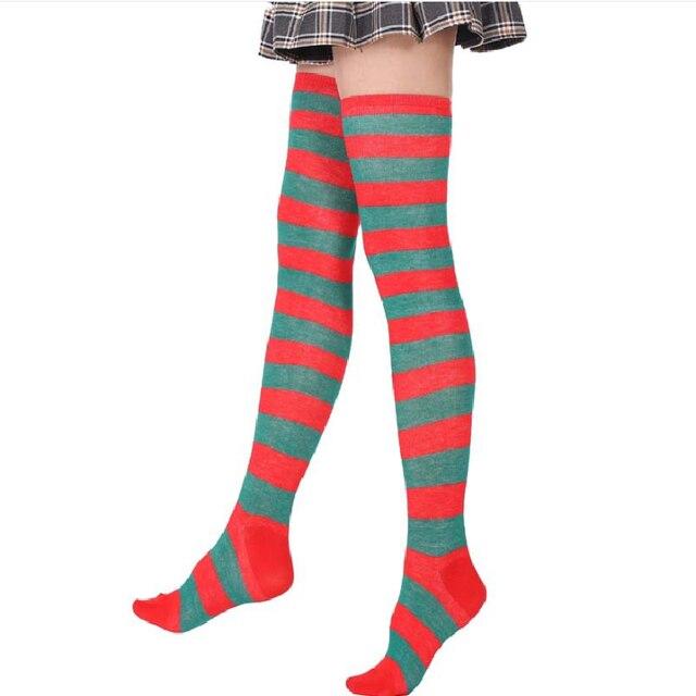 Femmes filles sur le genou longue rayure imprimé cuisse haute rayé chaussettes en coton 27 couleurs doux mignon grande taille surgenou chaussettes
