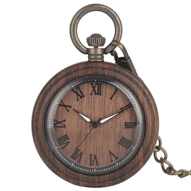 Classict Brown Ebony Quartz Pocket Watch Men Luminous Pointers Wooden Case Women Pendant Watch Large Dial Gift Taschenuhr New