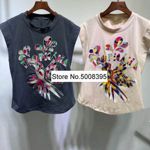 Fashion Tops Tshirt Embroidered Beige Woman Sleeveless Cotton Tees Bird-Letters Round-Neck