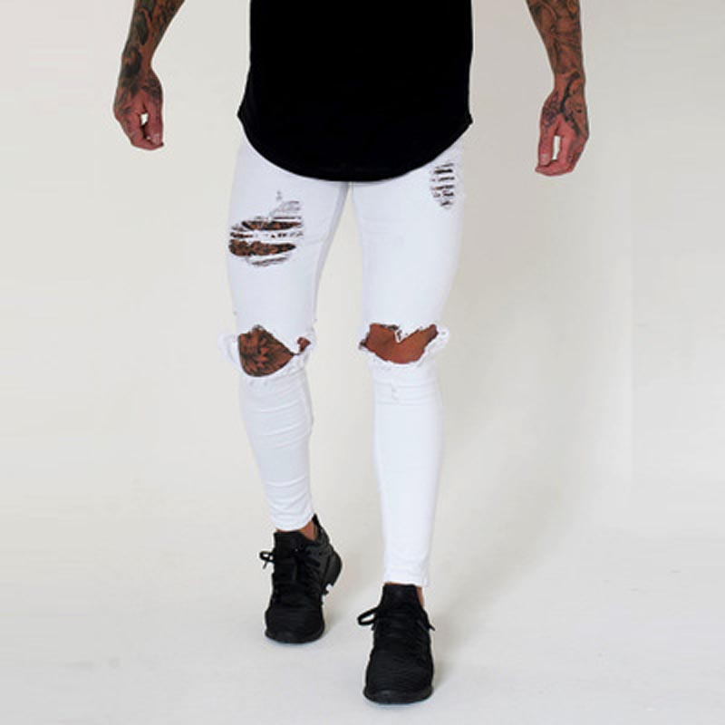 Wholesale 2020 Fashion Europe America design low waist Skinny jeans men Knee hole cowboy hip hop dance street white black pants