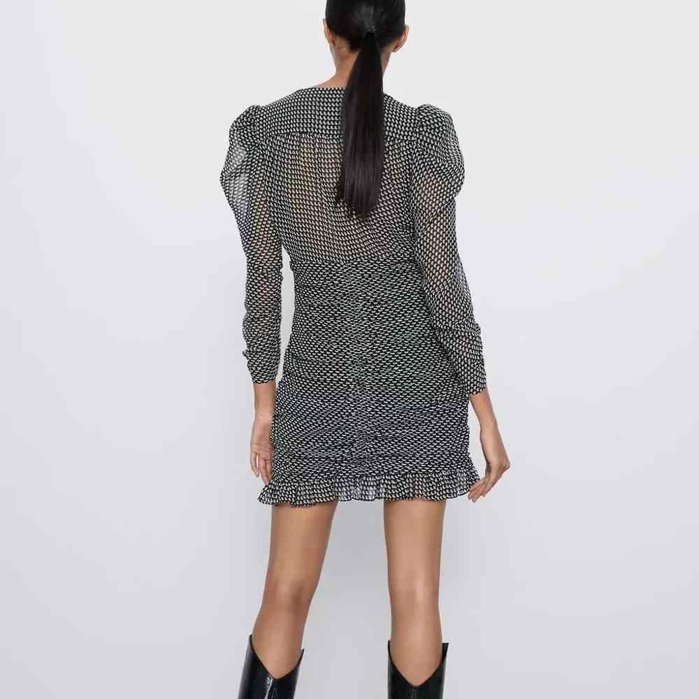 Za 2020 Voorjaar Nieuwe Vrouwen Bladerdeeg Mouw Geplooide Jurk Chic Dames Mode Vintage Stijl Vrouwelijke Jurken