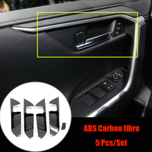 цена на ABS Carbon Fibre For Toyota RAV4 2019 2020 Accessories Auto Inner Door Bowl Protector Frame Cover Trim Sticker Car Styling 5Pcs