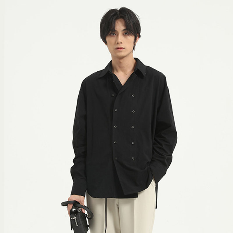 Men Double Breasted Long Sleeve Casual Shirt Male Japan Korea Style Streetwear Fashion Solid Color Shirt