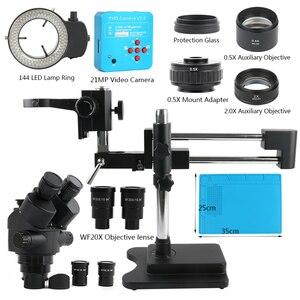 Image 2 - 3.5X 90X 180X simul odak çift Boom standı trinoküler Stereo yakınlaştırmalı mikroskop 38MP 2K HDMI USB kamera 144 LED ışık microscopie