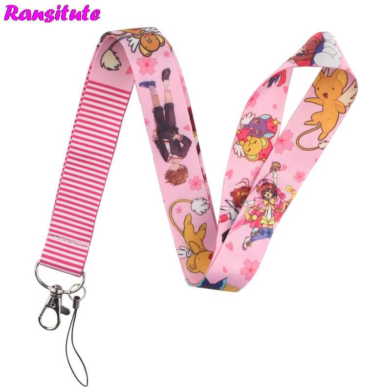 Ransitute Card Captor Sakura lanyard key ID card mobile phone belt USB badge holder DIY lanyard ribbon rope R585