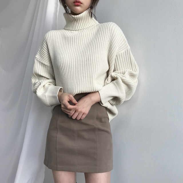 가을 겨울 터틀넥 풀오버 스웨터 여성 긴 소매 느슨한 스웨터 점퍼 여성 솔리드 따뜻한 니트 풀오버 겨울 의류