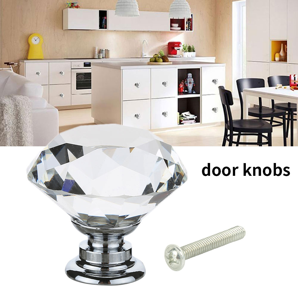 1PC 30MM Crystal Door Handle Retro Black Base Crystal Glass Knob Cabinet Drawer Pull Kitchen Cabinet Door Wardrobe Handle