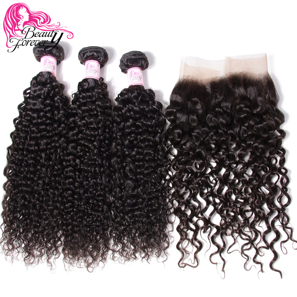 Beauty Forever Malaysian Curly Human Hair Weave Bundles With 13*4 Lace Frontal Closure Free Part Remy Closure
