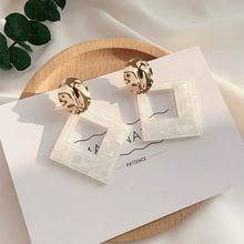 купить Fashion White Geometric Simple Korean Style earrings Jewelry Graceful Design earrings High Quality Drop Earring 1 Pair по цене 123.75 рублей