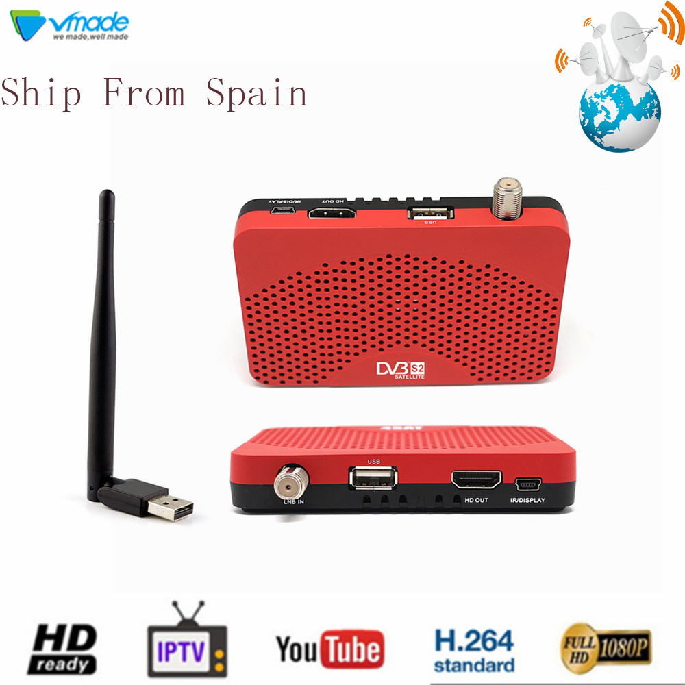 Vmade DVB-S2 Satellite Receiver + USB WiFi Dongle Adapter Combo HD TV Tuner Set Top Box Support Cccam IPTV Youtube WIFI 3G