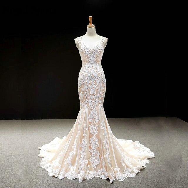 Кружевные Простые Свадебные платья цвета шампанского 2020, свадебные платья без рукавов с юбкой годе