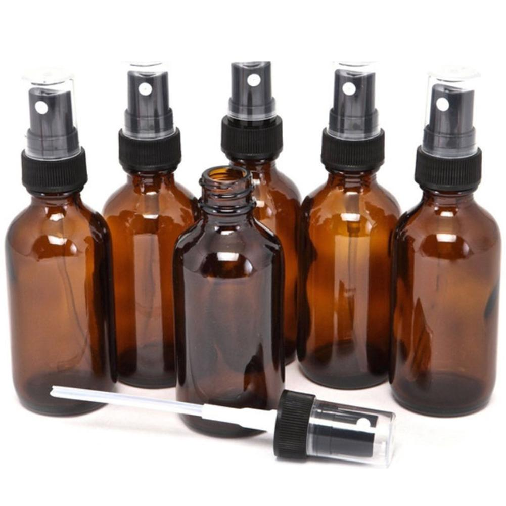 Hot 5-<font><b>100ML</b></font> Beauty Empty Amber <font><b>Glass</b></font> <font><b>Bottles</b></font> Essential Oil Mist <font><b>Spray</b></font> Container Case Refillable <font><b>Bottles</b></font> Travel image