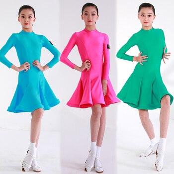 Children'S Latin Dance Dress Regulation Clothing Girls Professional Examination Dress Dance Practice Clothes Kids Latin Dress