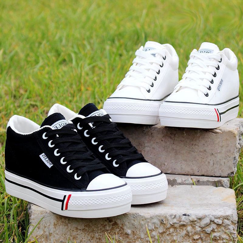 Spring New Fashion Girl Canvas Sneakers Shoes Women Flats Platform Casual Shoes Lady High Heels Wedge Platform Shoes MD-28