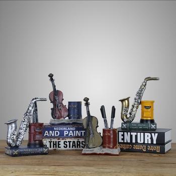 Nordic retro studenten creatieve hars geschenk ornamenten saxofoon viool opslag penhouder|Figuren & Miniaturen|   -