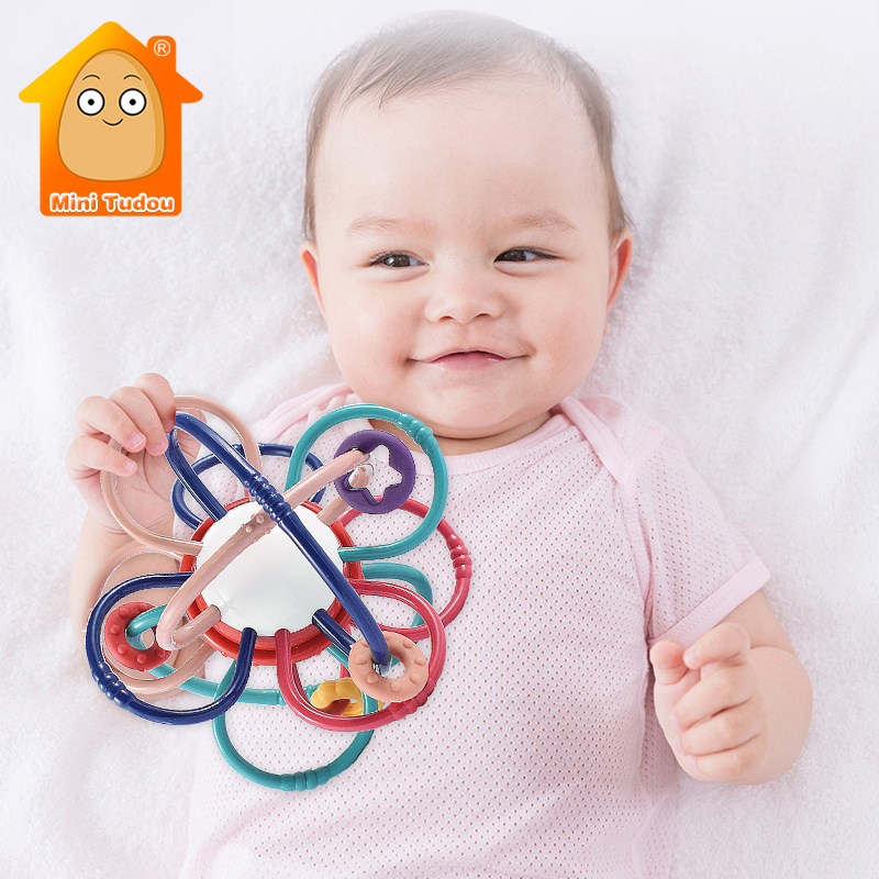 Baby Toys 0 12 Months Colorful Plastic Rattle Ball Infant Cute Hand Shake Teether Bell Ring Early Educational Toys For Newborn